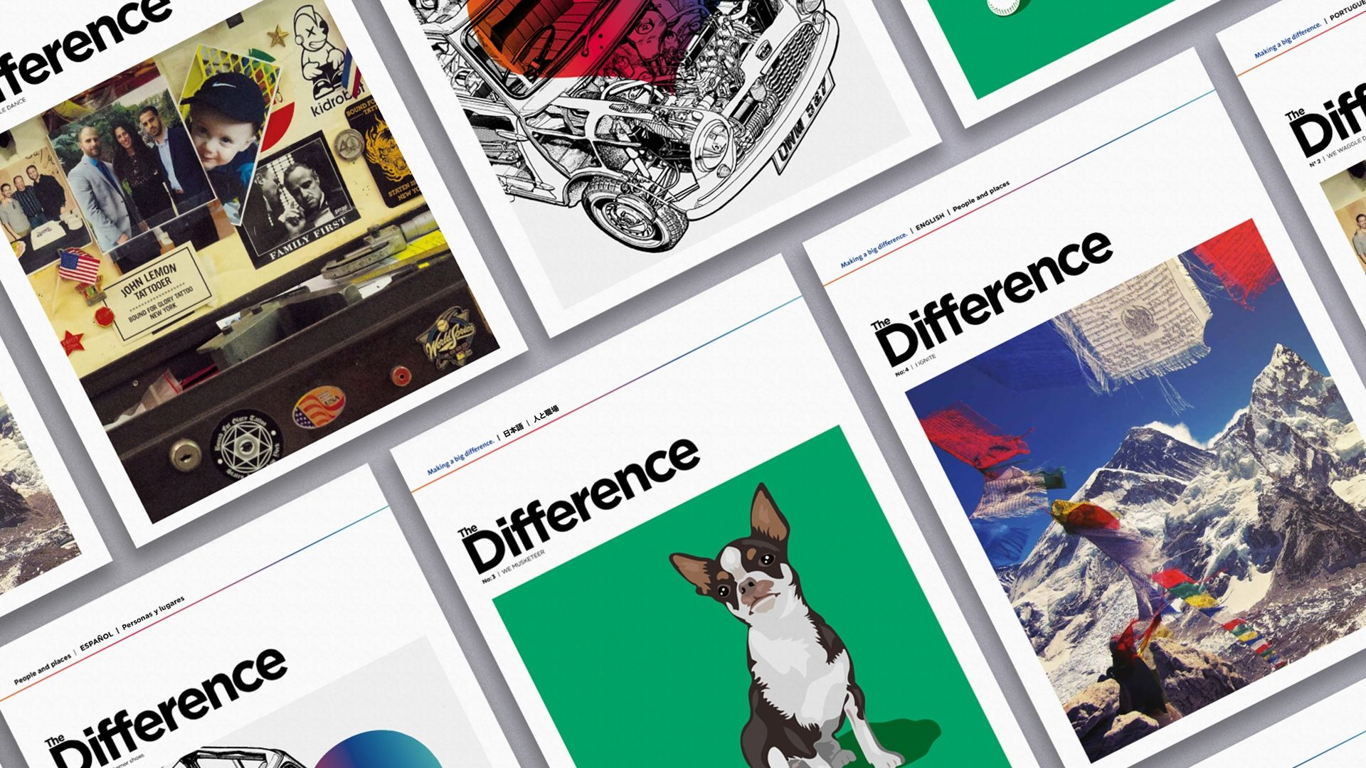 The Difference Magazine for Saint Gobain, showing the different cover design for each issue