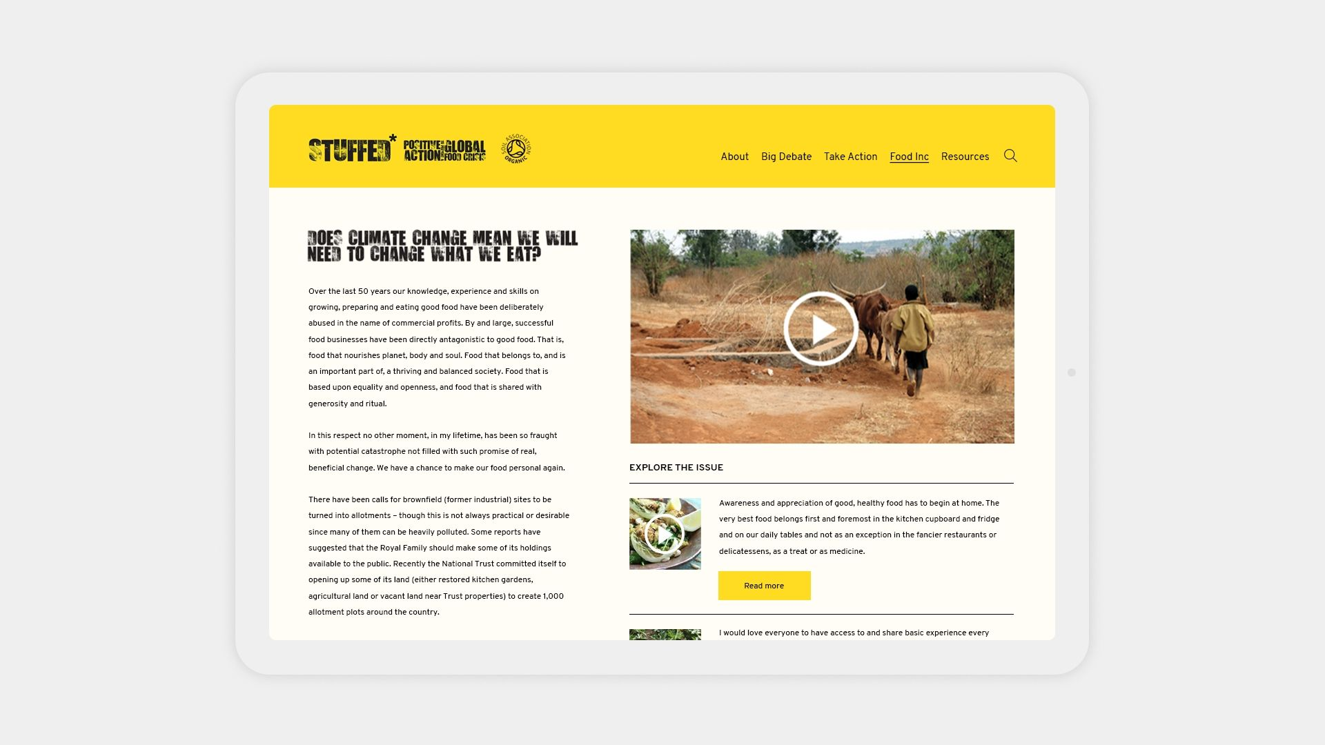 Soil Association Stuffed Responsive Website Design shown on a tablet