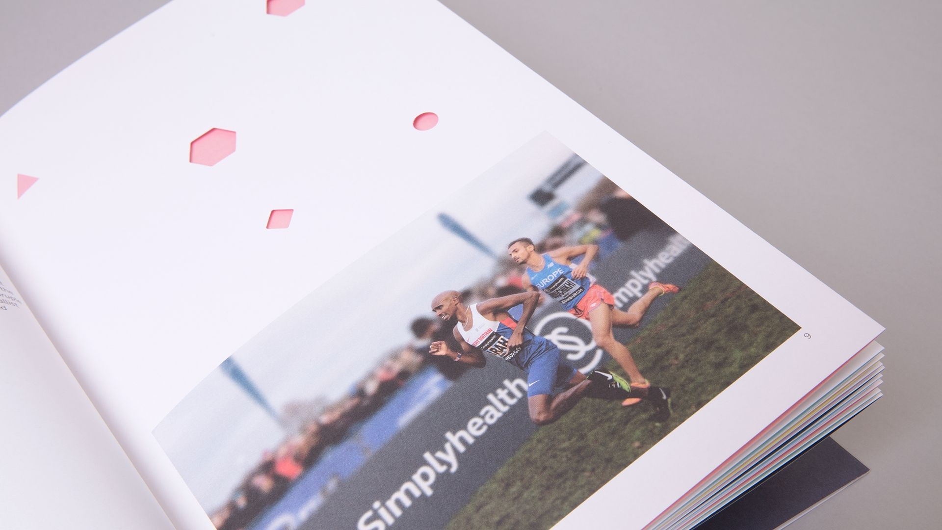Simplyhealth Professionals Brochure Design showing Die-Cut Details and Art Directed Photography of Mo Farah and signage design