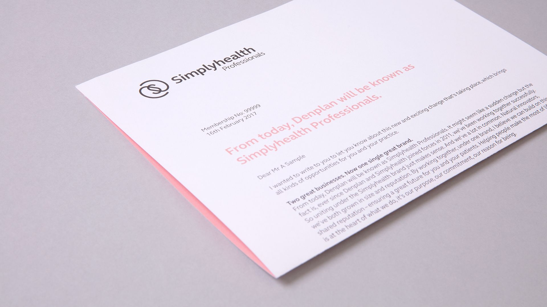 Simplyhealth Professionals Letterhead design showing branding and copywriting